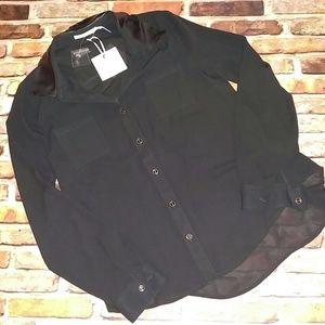 NWT Blu Pepper Black Button Dress Blouse M